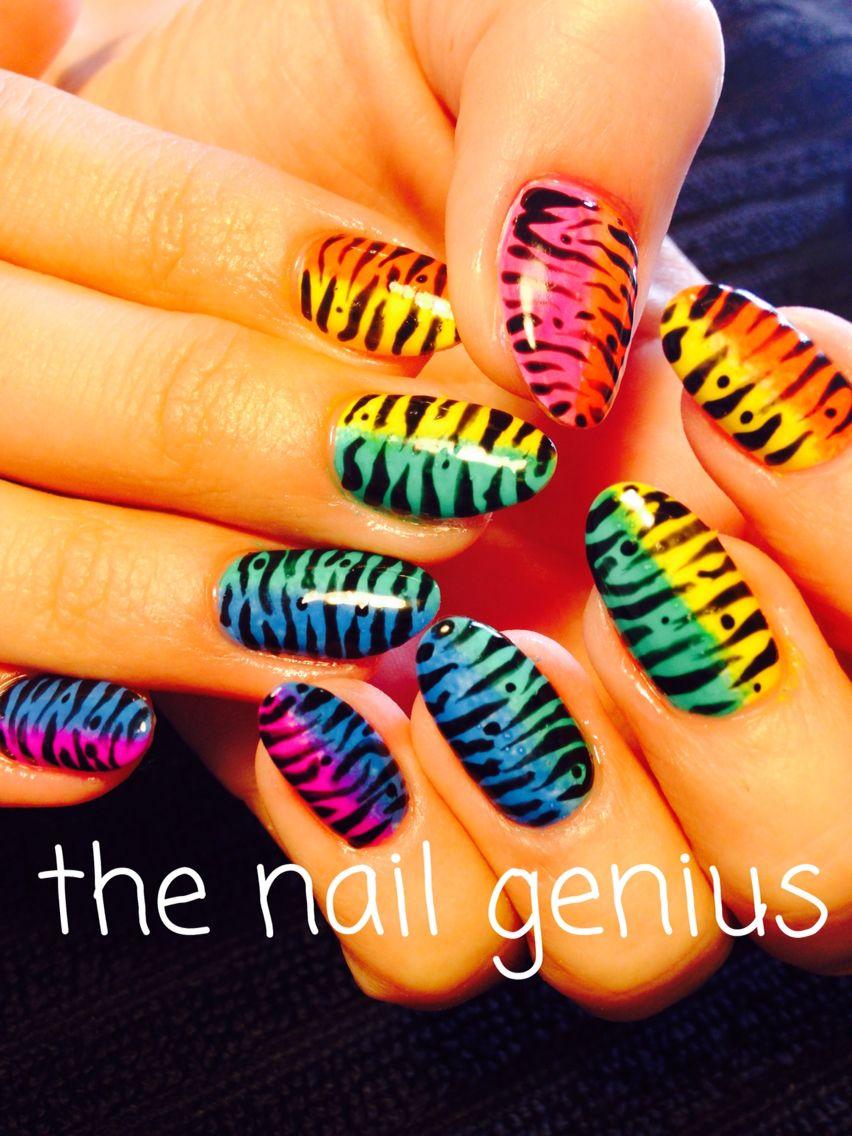 #thenailgenius #nailart #edengelpolish #melbourne #handpainted #rainbow #tigerstripe #onpoint