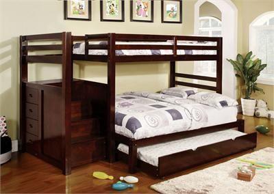 Big Bear Ridge Dark Walnut Twin Full Bunk Bed With Stairs Twin