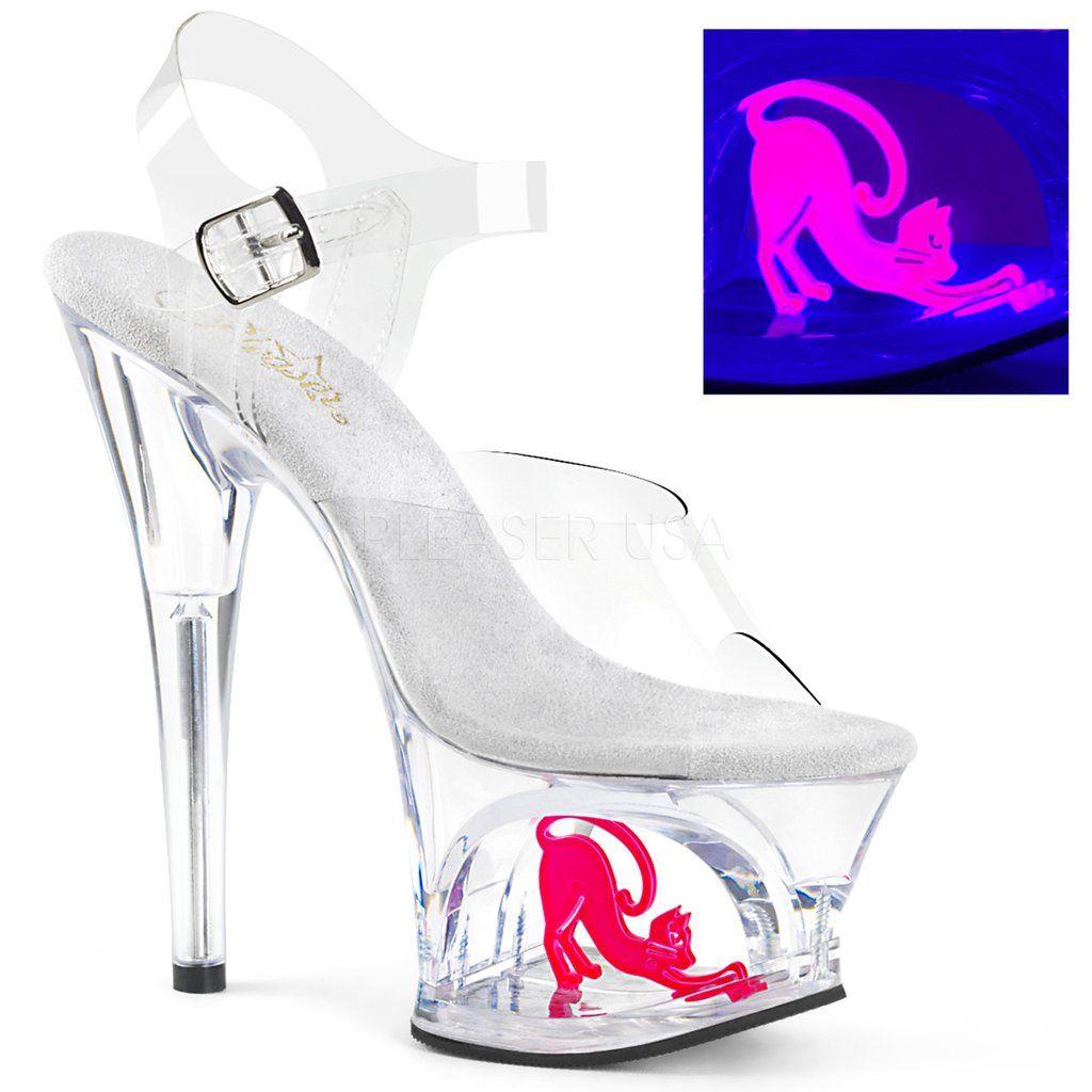 7de185afcf62 MOON-708CAT Pleaser Sexy Stripper Shoes Cut-Out Neon Cat Platforms Ankle  Strap Sandals