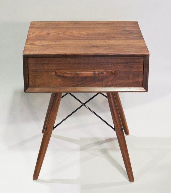 Danish Modern Walnut Wood Side Table With Eames Legs