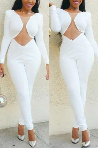 3eaaa767f41 Mesh Patchwork See-Through White Jumpsuit - ROASO - 1