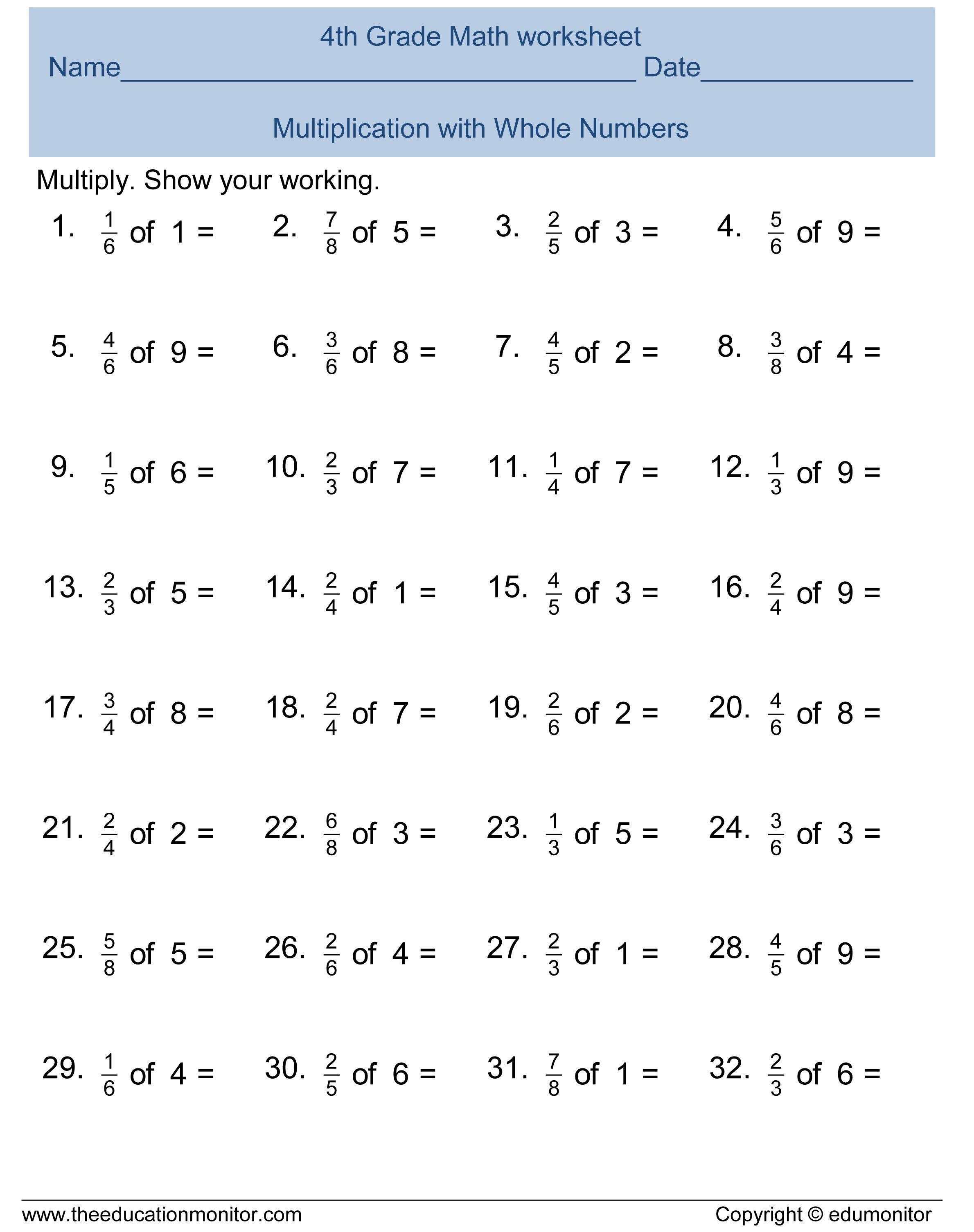 Image Result For Fractions Worksheets Grade 4