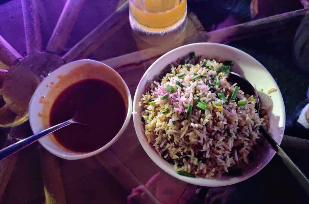 Loved this spicy Egg Fried rice! Tastes great with Wheat Beer! Rating: 4/5 Place: Double Barrel, Mysuru