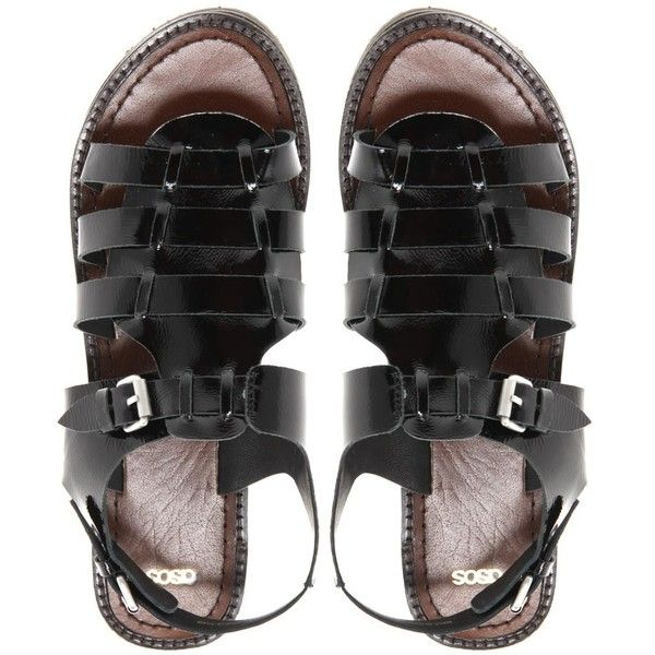 Asos Freeze Leather Gladiator Sandals ($38) ❤ liked on Polyvore