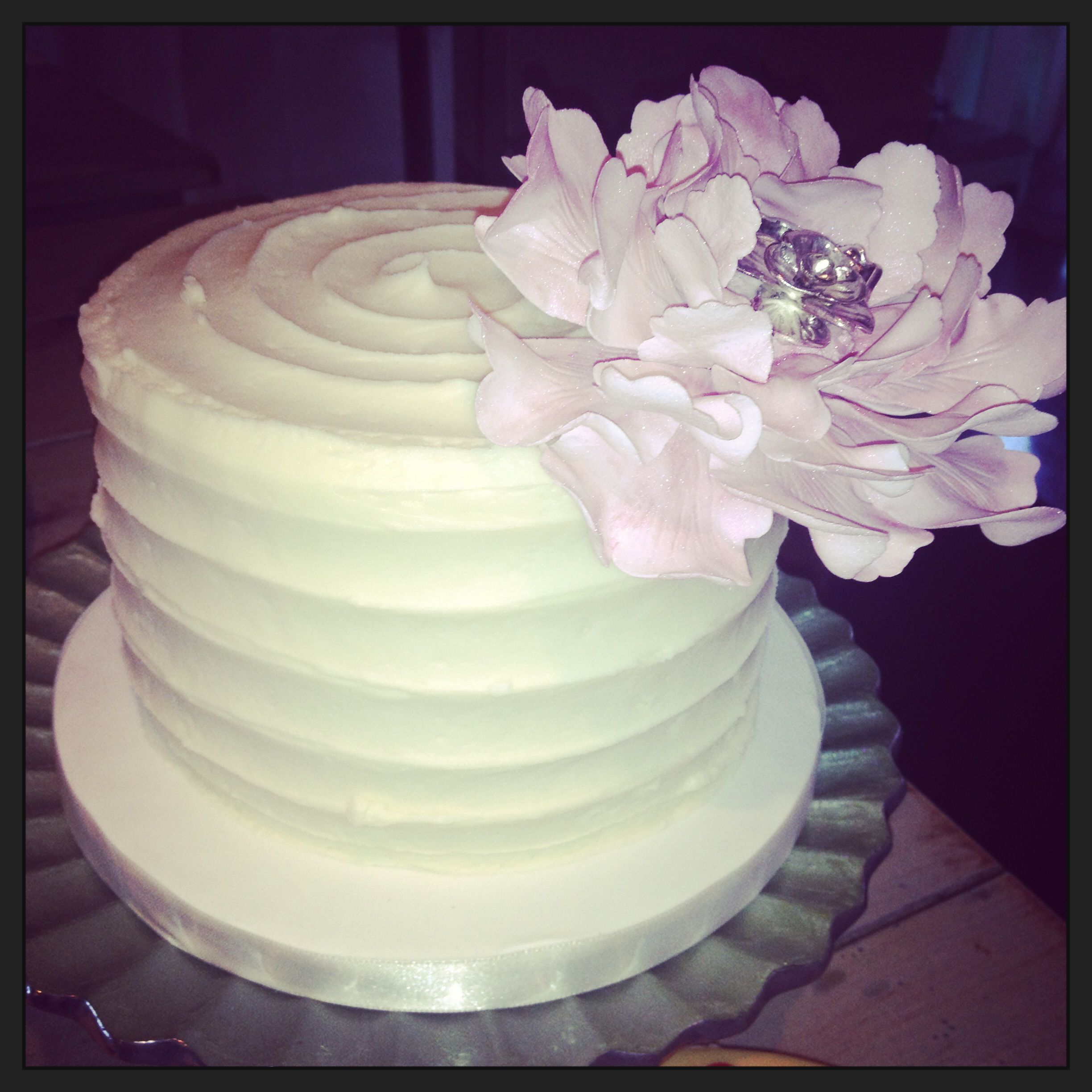 Buttercream Wedding Cakes And Desserts: Simple Buttercream Cake With A Gumpaste Flower.