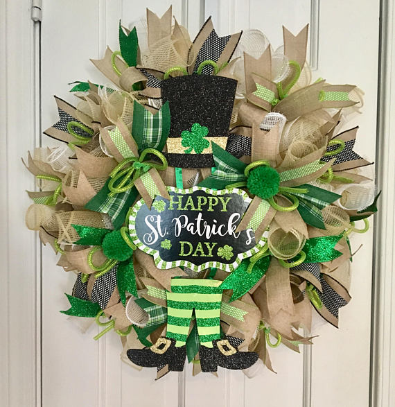 st patricks day deco mesh wreath st pattys day wreath wreaths pinterest st pattys wreaths. Black Bedroom Furniture Sets. Home Design Ideas