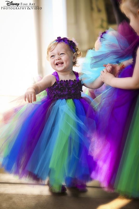 Bright Colorful Purple Green And Blue Flower Girl Tutus Come To