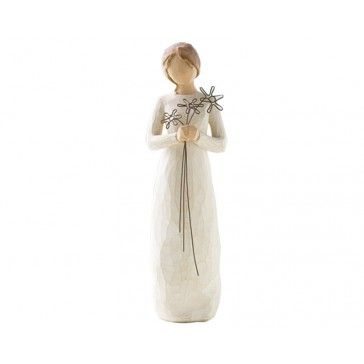 """Willow Tree - Grateful Figurine  Let that friend that has always been there for you that you are grateful for your friendship, because once like this woman seeing all the memories in the three flowers in her hands shows """"I'm so grateful for your friendship""""."""