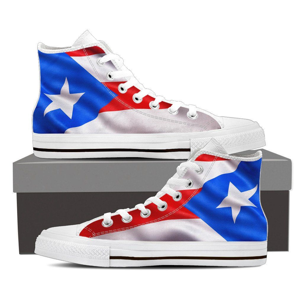 Mens High Top Puerto Rico Waiving Flag Light Blue Canvas