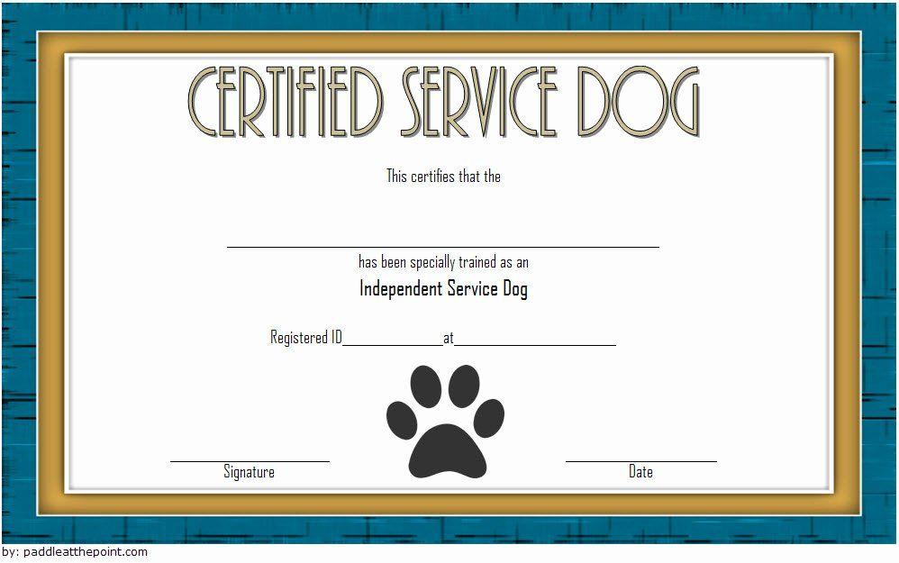 20 Dog Training Certificate Template In 2020 Service Dogs