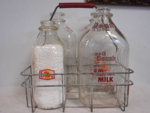 4-Vtg-Milk-Bottles-2-Twin-Pines-Dean-Serv-All-Antique-Rustic-Metal-Wire-Carrier