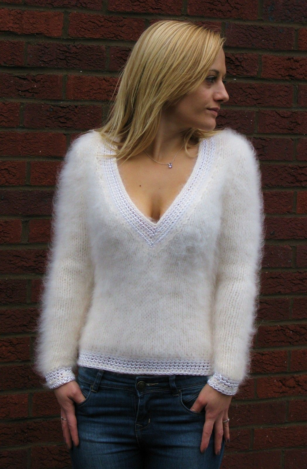 Gorgeous hand crafted exclusive fluffy angora sweater