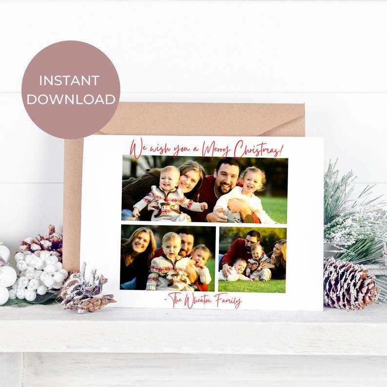 Modern Christmas Postcard Instant Download Merry Christmas Etsy Christmas Postcard Christmas Postcard Template Modern Christmas