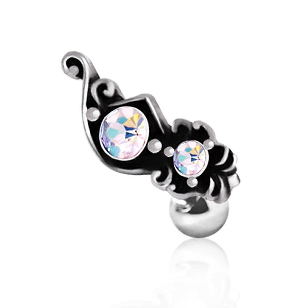 Jewish nose piercing  L Surgical Steel Ornate Aurora Borealis Cartilage Earring
