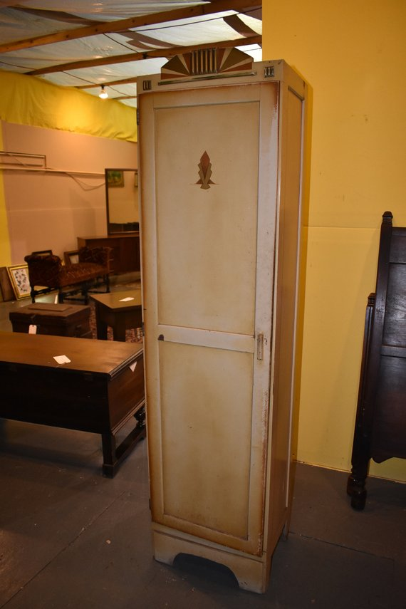 Antique Art Deco Cream Painted Chimney Kitchen Cupboard Keystone Cabinet Co Pa Deco Paint Dresser With Mirror Littlestown