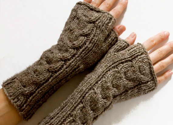 Long Cabled Fingerless Gloves Fingerless Mittens Taupe Hand Knit