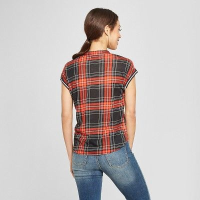 6184e77f Women's Plaid Short Sleeve Tie Front Button-Down Shirt - Almost Famous ( Juniors') Red S #Sleeve, #Tie, #Short