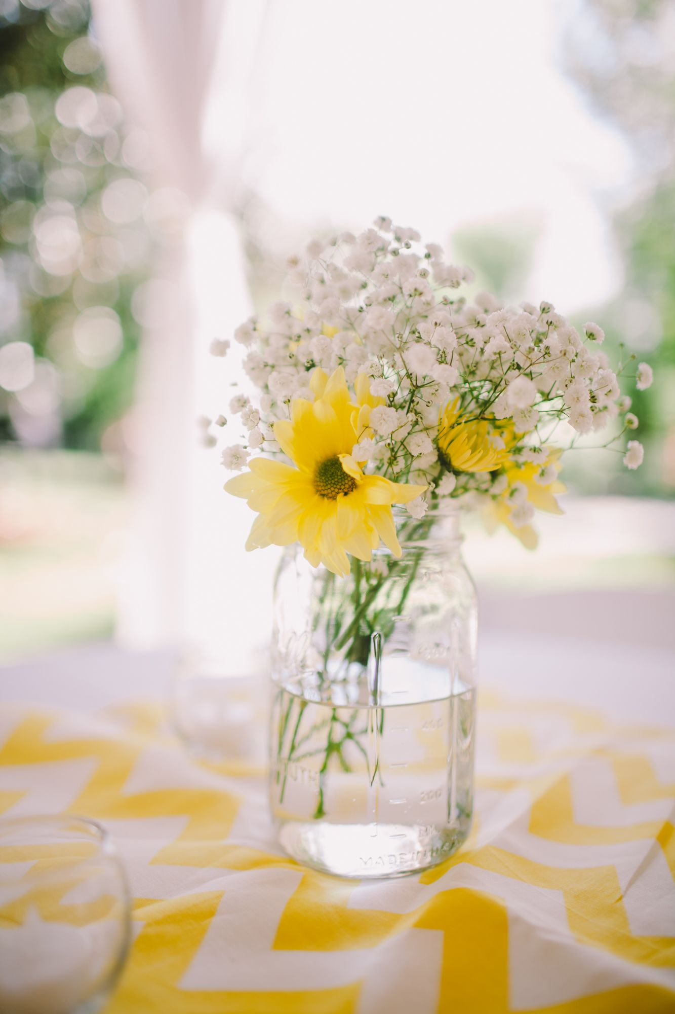 Yellow Daisy and Baby\'s Breath Centerpiece | Wedding | Pinterest ...