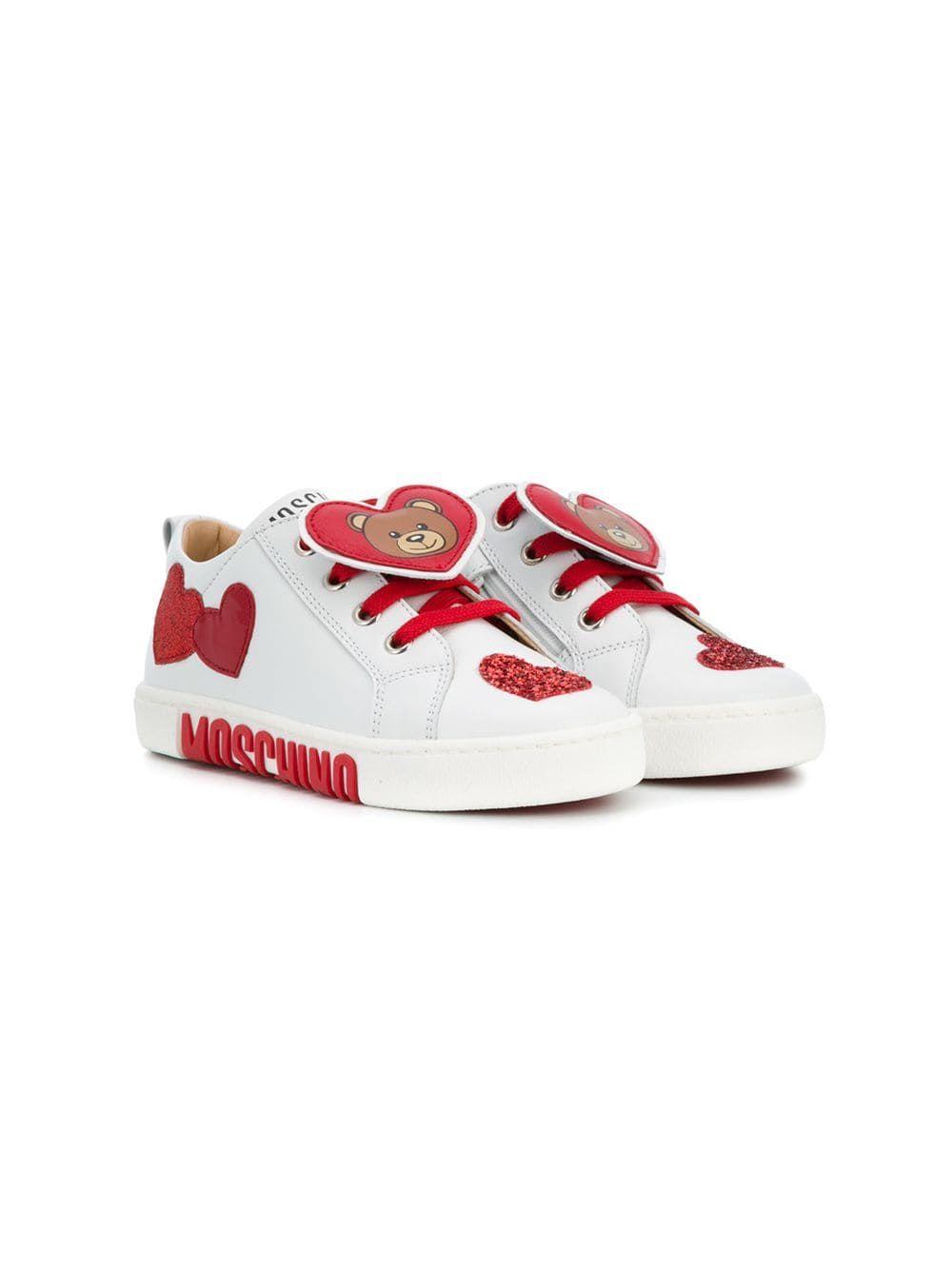 ddd9b558c0d0e Moschino Kids teddy heart sneakers - White on Avoir Fashion ...