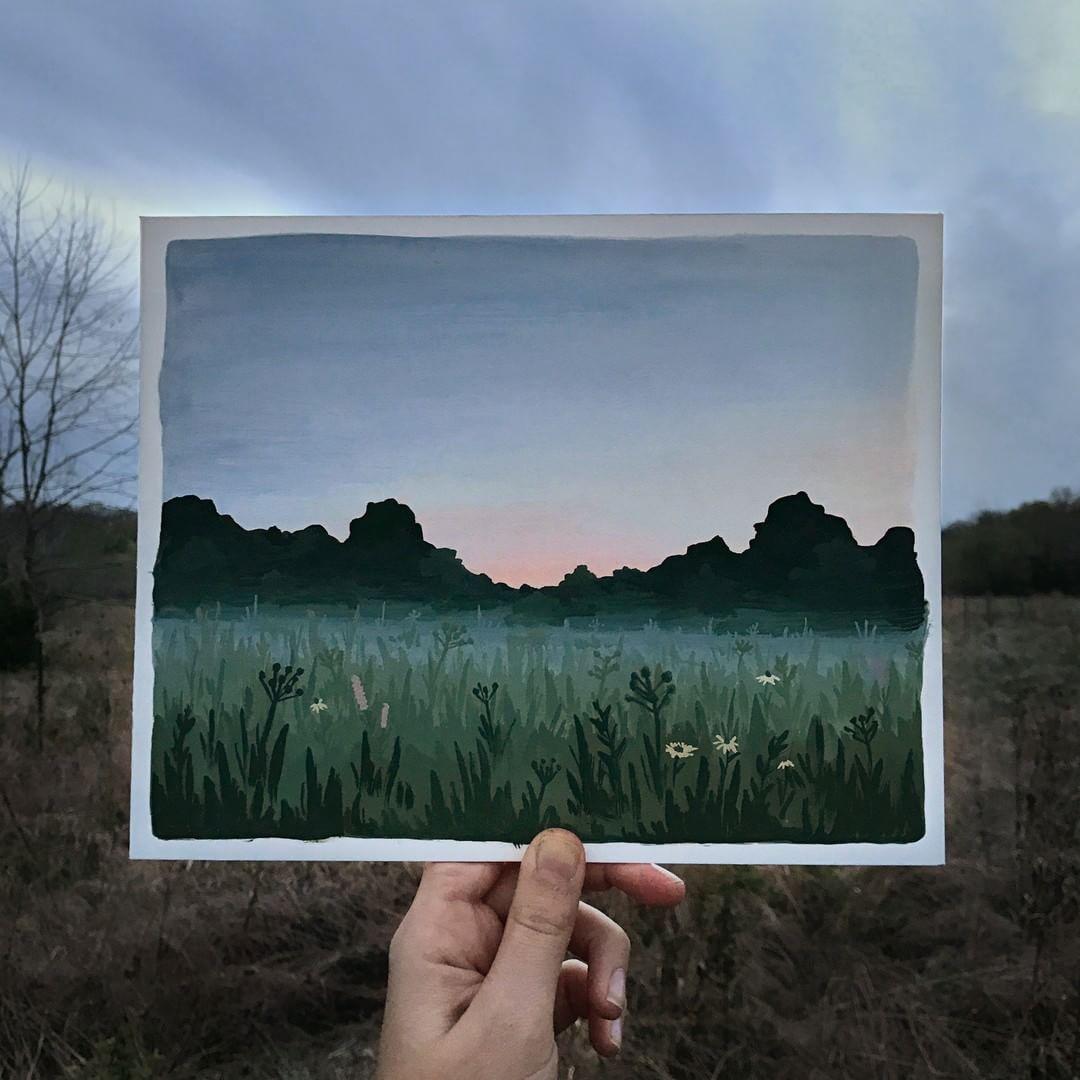 Twilight Fell The Sky Turned To A Light Dusky Purple Littered With Tiny Silver Stars J K Rowling Har Kunstzeichnungen Landschaft Zeichnen Aquarellbilder