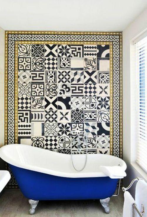 Badezimmer und Badezimmerfliesen blau muster geometrisch - muster badezimmer fliesen