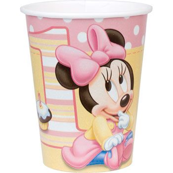 Disney Minnie's 1st Birthday 9 oz Cups, 8pk, Multicolor