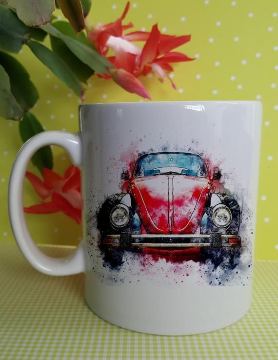 Red Classic Car Ceramic Mug, The perfect gift for a classic car enthusiast, Fab …