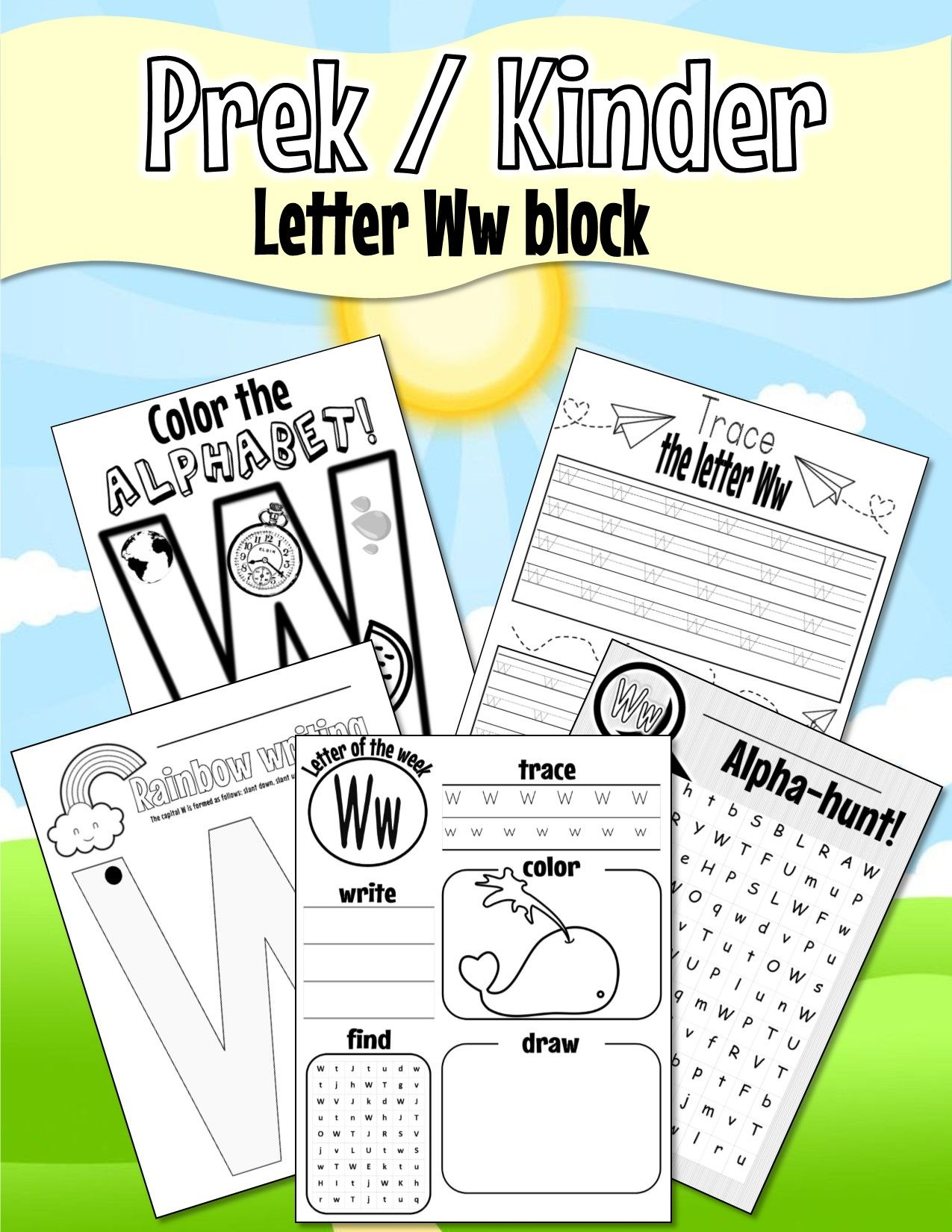 Pre K Kinder Letter Ww Worksheets