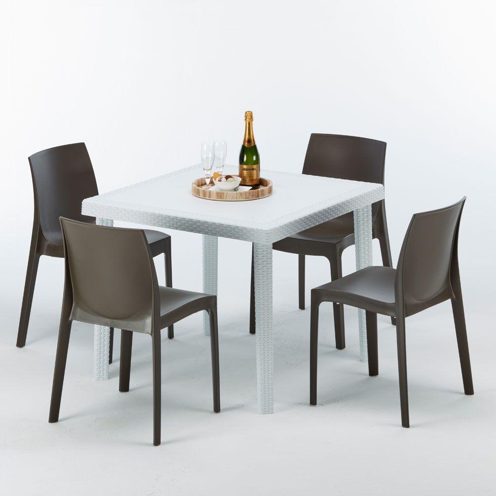 Tavoli E Sedie In Rattan Prezzi.Tavolo Quadrato 4 Sedie Rattan Sintetico Polyrattan Colorate 90x90