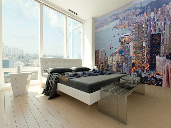 Wandtapete Schlafzimmer ~ Tapeten ideen schlafzimmer frische wandgestaltung grüne elemente