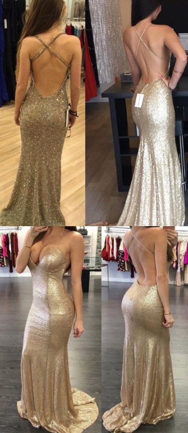 Backless sequin prom dress mermaid gold prom dress long prom dress