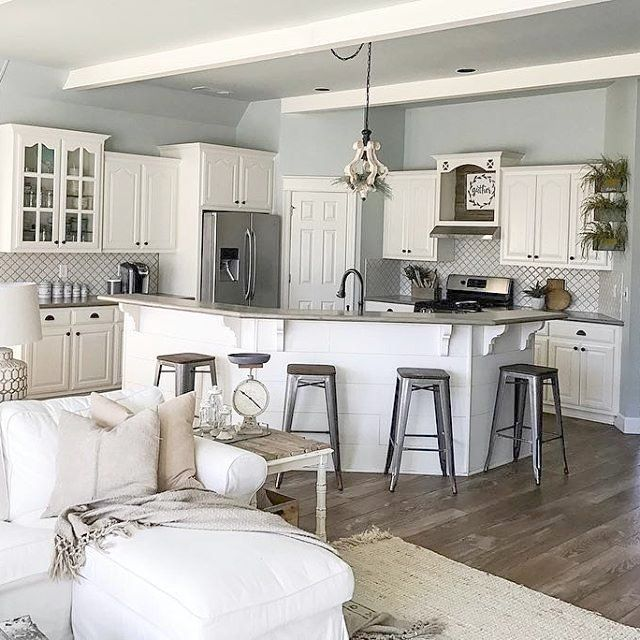 paint colors for kitchens with white cabinets sw sea salt on walls and sw alabaster on cabinets on farmhouse kitchen wall colors id=34881