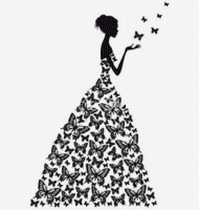 Трафареты девушек в платье