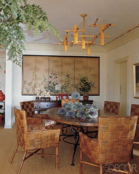 Modern Asian Touches With Quirky Bamboo Chandelier And Woven Chairs