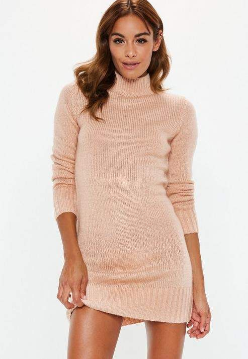 1b1f38cc879ba5 Nude Fluffy High Neck Sweater Dress in 2019 | ❤Clothes❤ | Long ...