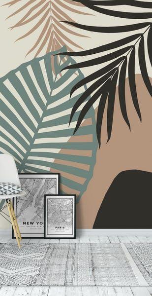 Buy Minimal Jungle Leaves 1 Wall Mural Free Us Shipping At Happywall Com Em 2020 Murais De Parede Pintados Pintura De Desenhos Na Parede Murais De Parede