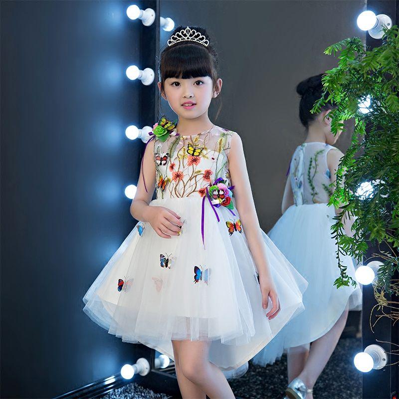 Toddler Girls Dress Clothes Duck Print Dress Embroidery Princess Party Dress Hot