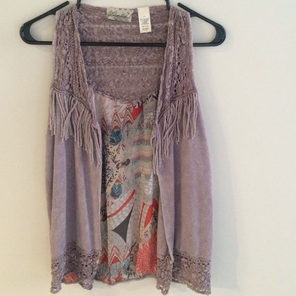 Gimmicks vest A lavender fringe vest with a chiffon detailed back. By Gimmicks Jackets & Coats Vests