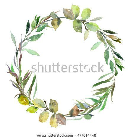 Watercolor green leaves wreath leaf boarder simple leafy hand