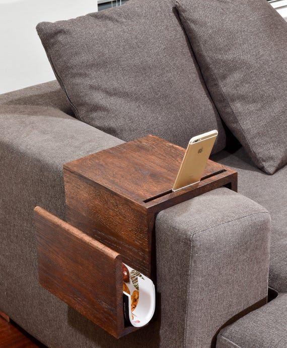 Divano Multifunzione Bracciolo Tavolo Vassoio Di Resto Del Etsy Couch Arm Table Diy Sofa Wood Diy