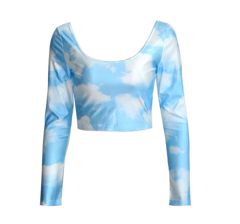 Femmes Blouses à manches longues chemise exposer nombril mode femme manches longues Blue Sky imprimer Blouses chemises Casual Blouse(China (Mainland))