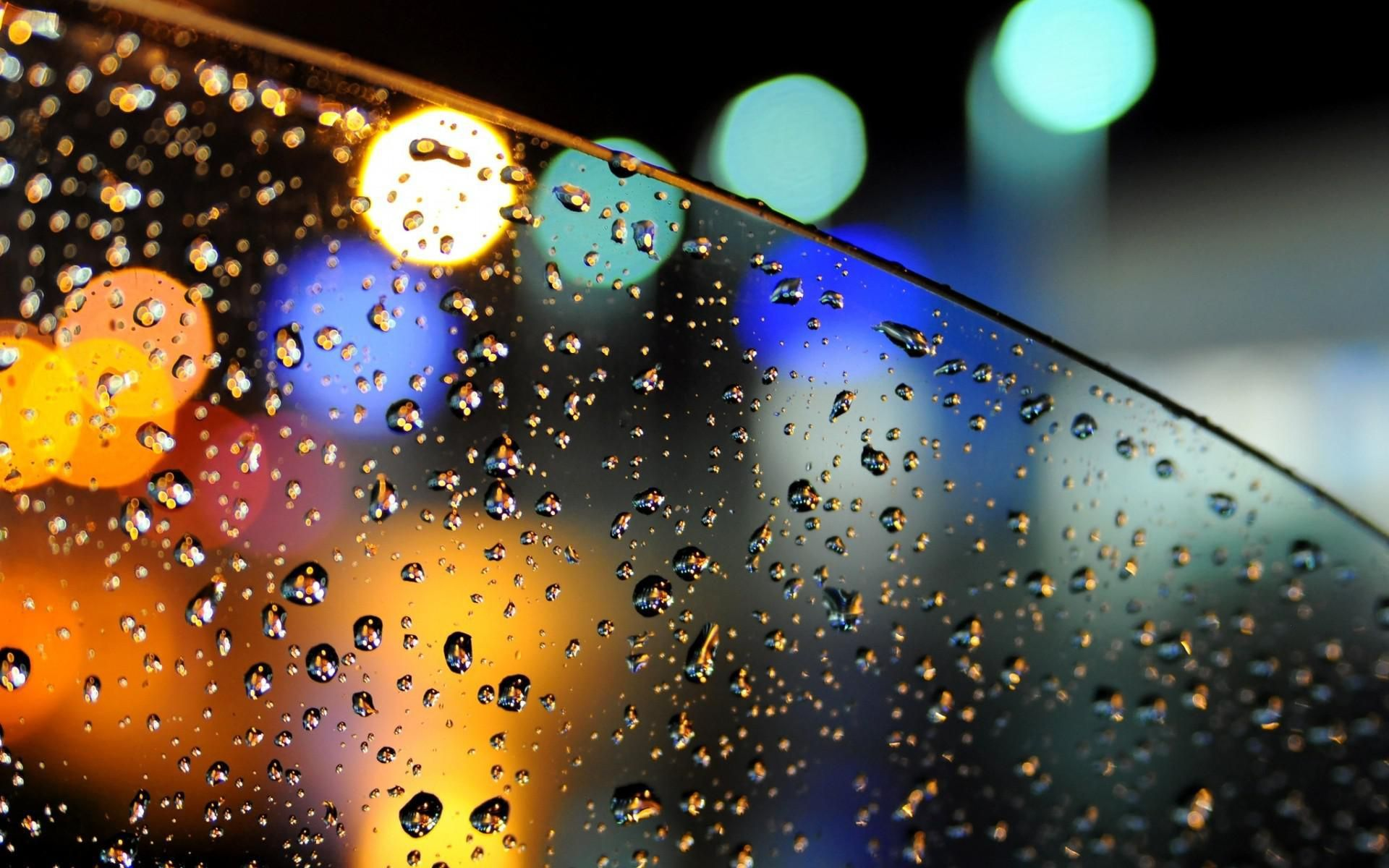 bokeh lights glass car drops water rain wide mobile hd desktop