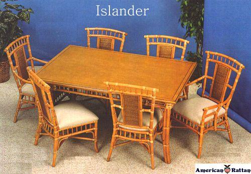 Islander Wicker Dining Room Set | Capris Furniture Dining Series 354