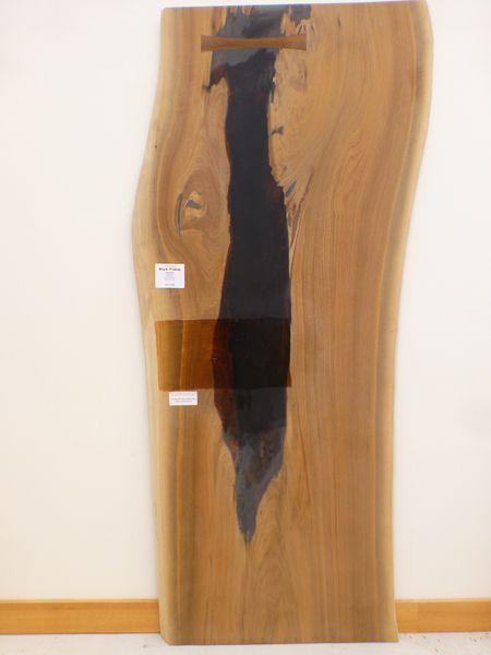 Natural Edge Black Walnut And Rock Semi Finished Wood Slab Table Top