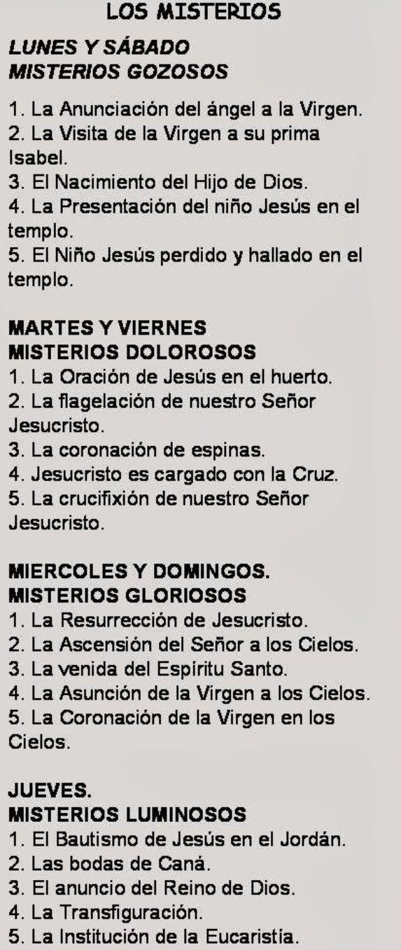 Los Misterios Del Santo Rosario Cada Día Vamos Meditando La Vida De Jesús Y De María Oraciones Rosarios Catholic Prayers
