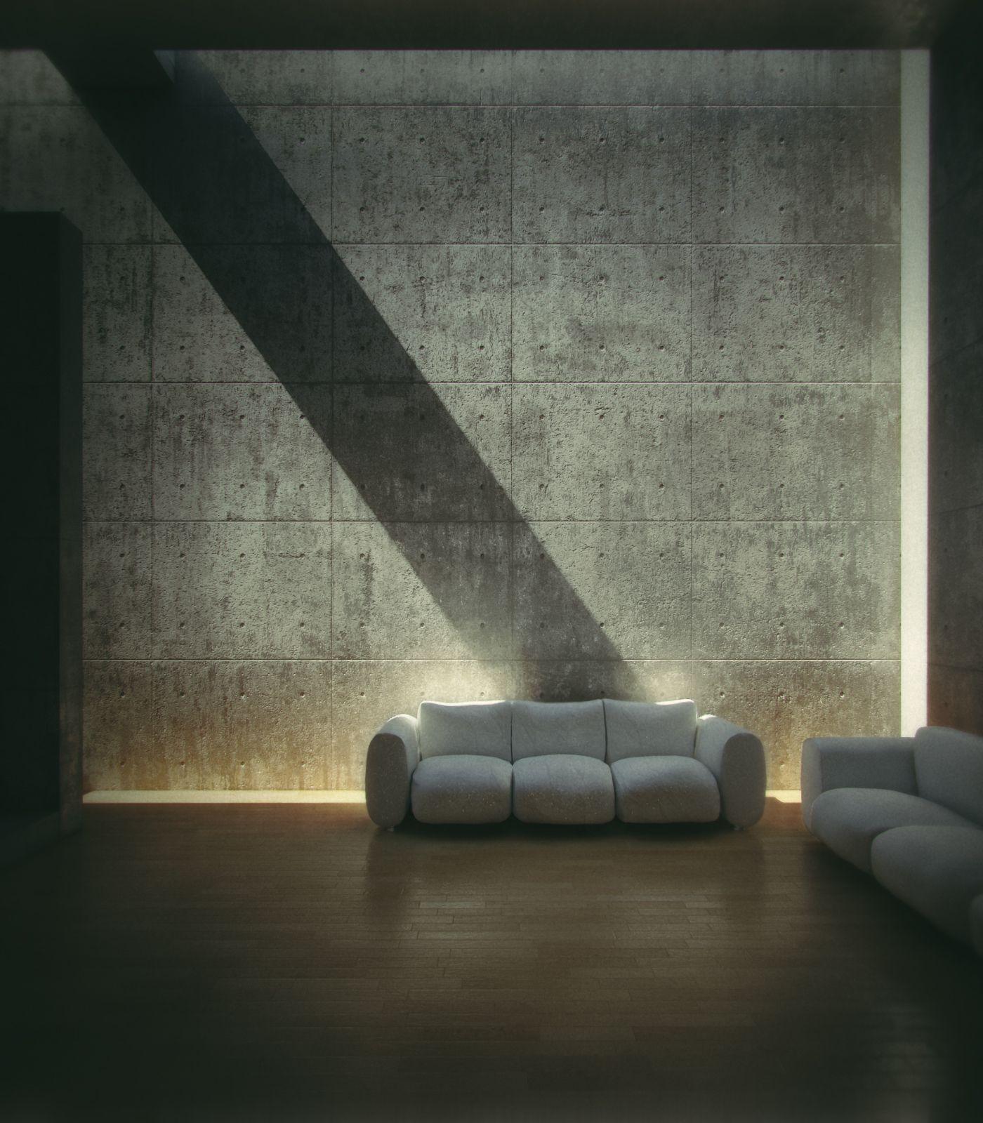 Koshino House by Tadao Ando. Interior redered by Gonzalo P. Martos