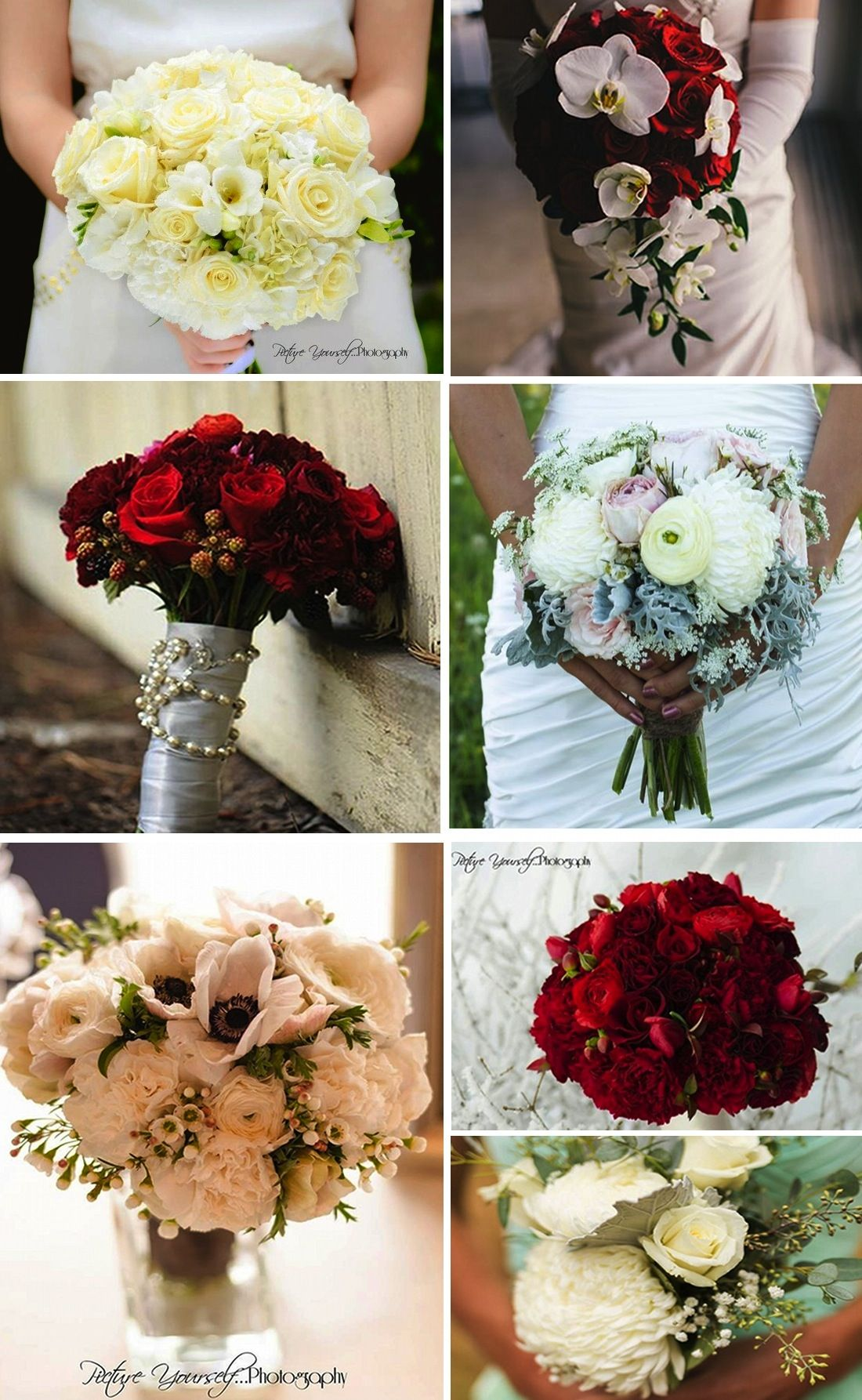 Winter white and red bouquets - Angela Austin floral design