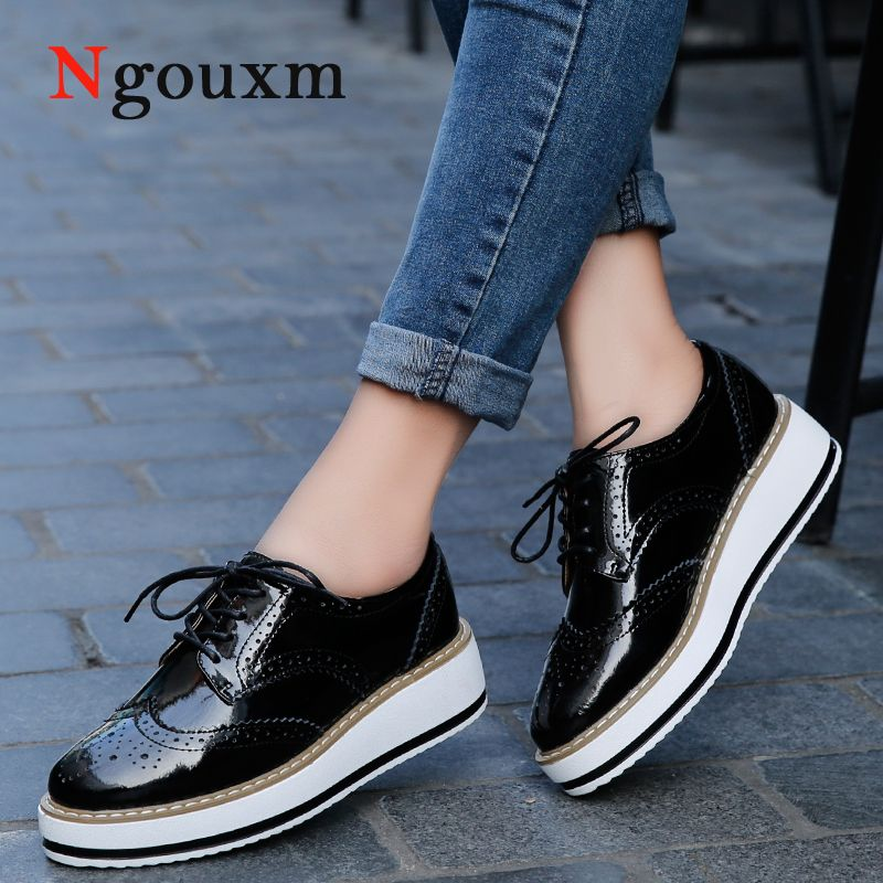 d19769e79941b5 Ngouxm 2017 New Women Platform Shoes Woman Brogue Patent Leather Flats Lace  Up Footwear Female Flat