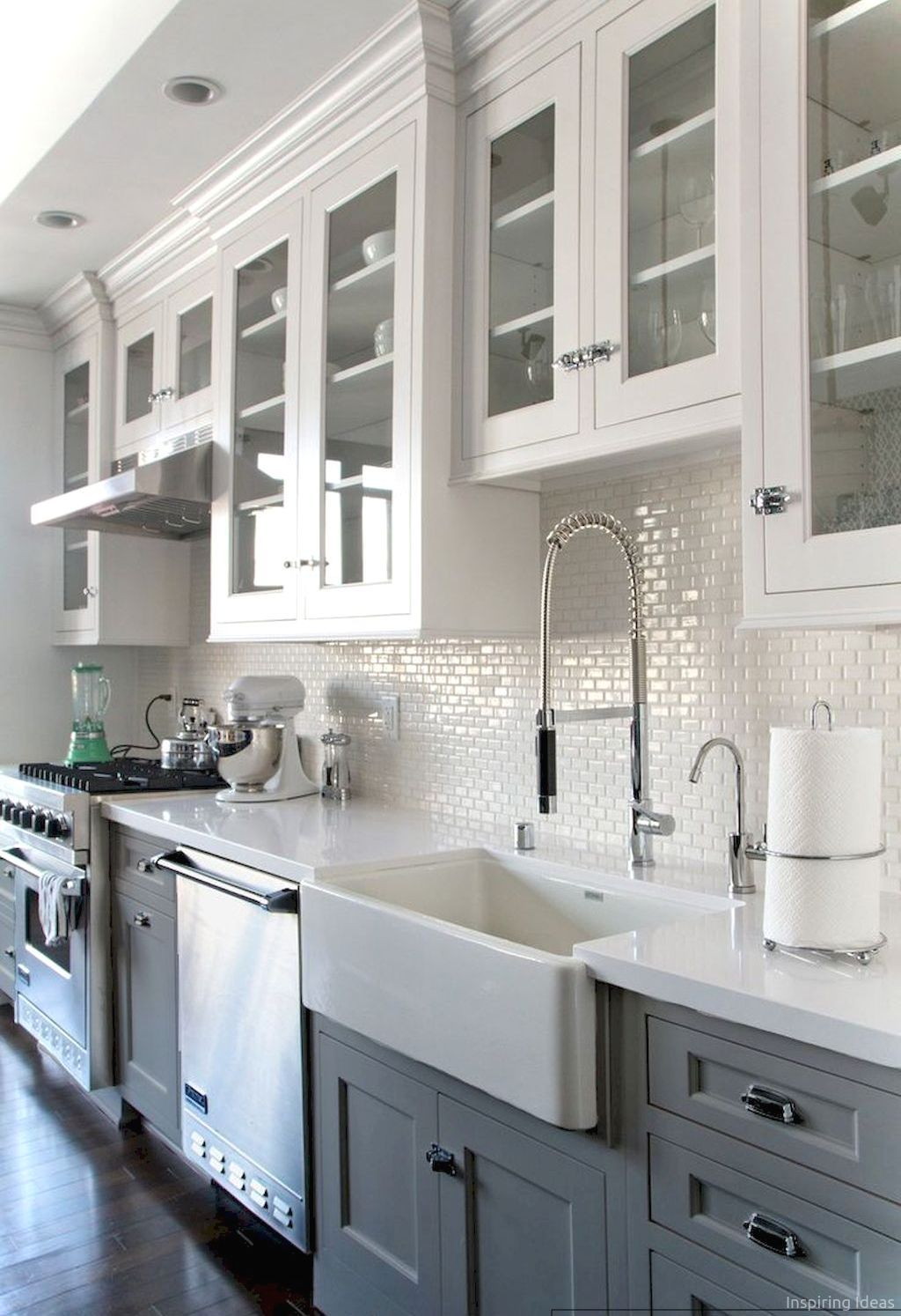 Best Kitchen Gallery: 80 Awesome Modern Farmhouse Kitchen Cabi S Ideas Farmhouse of Two Tone Kitchen Cabinet Color Ideas on rachelxblog.com