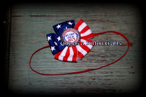 babys first 4th of July Patriotic Bow perfect by tootoocute4you, $8.00